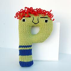 Letter P - Alphabet Plush Toy Knitting PATTERN - Paco
