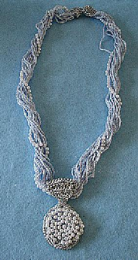 Blue chains necklace with pearl pendant