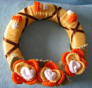 Candy corn flowers wreath