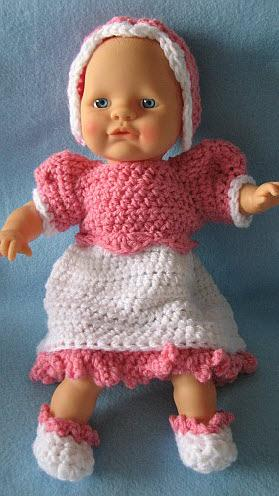 12-inch baby doll dress and bonnet
