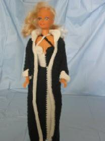 Barbie black and white gown and coat