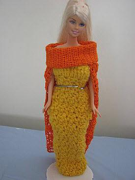 Barbie yarn gown and thread cape