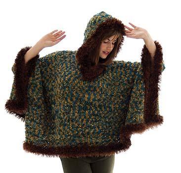 Fur Trimmed' Boucl Poncho
