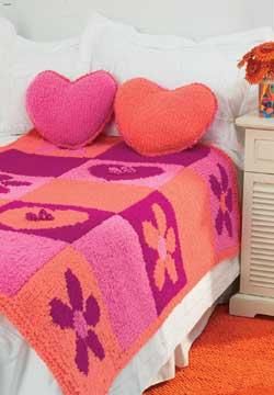Hearts And Flowers Blanket And Pillow