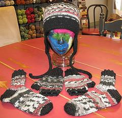 Earflap Hat, Fingerless Mitts, & Slipper Socks