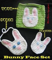 Crochet Easter Bunny Face Coaster, Basket Tote and Purse